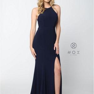 Elegant Open Back High Neck Long Dress Q131